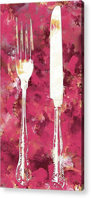 Pink Watercolor Painting of Fork and Knife Utensils - Acrylic Print from Wallasso - The Wall Art Superstore