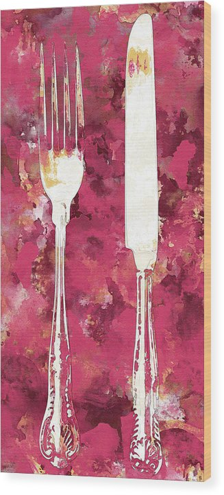 Pink Watercolor Painting of Fork and Knife Utensils - Wood Print from Wallasso - The Wall Art Superstore