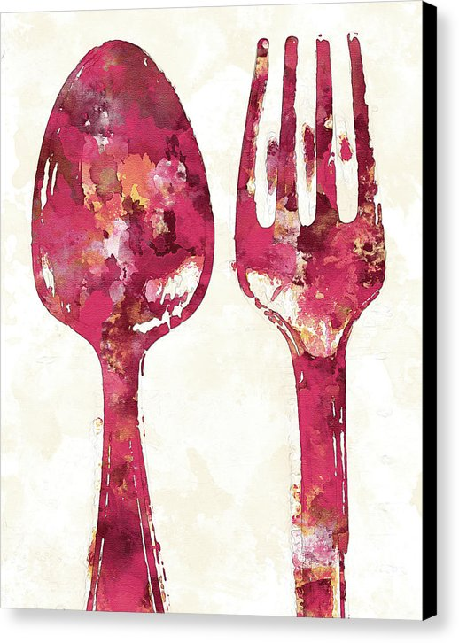 Pink Watercolor Painting of Spoon and Fork Utensils - Canvas Print from Wallasso - The Wall Art Superstore