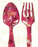 Pink Watercolor Painting of Spoon and Fork Utensils - Art Print from Wallasso - The Wall Art Superstore