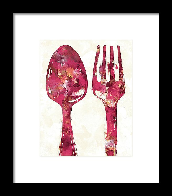 Pink Watercolor Painting of Spoon and Fork Utensils - Framed Print from Wallasso - The Wall Art Superstore