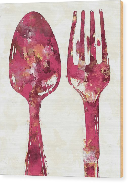 Pink Watercolor Painting of Spoon and Fork Utensils - Wood Print from Wallasso - The Wall Art Superstore