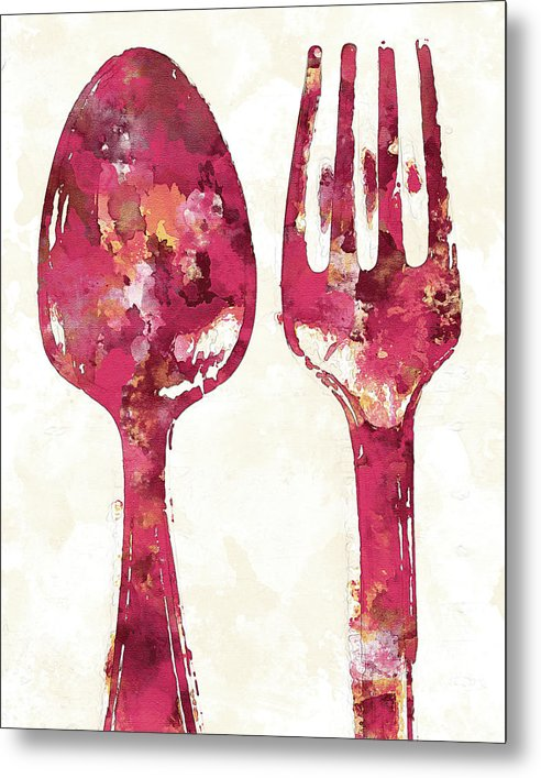 Pink Watercolor Painting of Spoon and Fork Utensils - Metal Print from Wallasso - The Wall Art Superstore