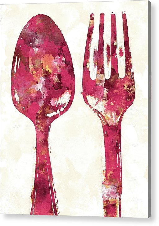 Pink Watercolor Painting of Spoon and Fork Utensils - Acrylic Print from Wallasso - The Wall Art Superstore