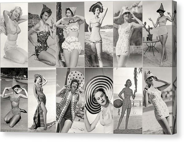 Pinup Girl Bikini Collage, Sepia - Canvas Print from Wallasso - The Wall Art Superstore