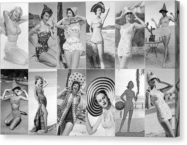 Pinup Girl Bikini Collage - Canvas Print from Wallasso - The Wall Art Superstore