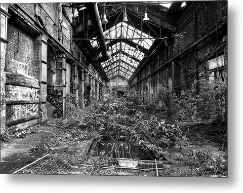 Plant Overgrowth In Abandoned Factory - Metal Print from Wallasso - The Wall Art Superstore
