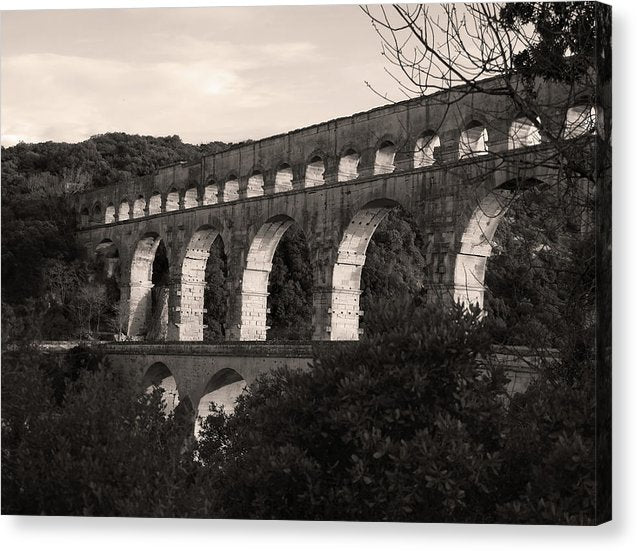 Pont Du Gard Roman Aqueduct Bridge, France - Canvas Print from Wallasso - The Wall Art Superstore
