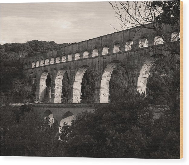 Pont Du Gard Roman Aqueduct Bridge, France - Wood Print from Wallasso - The Wall Art Superstore