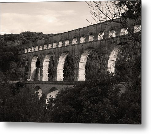 Pont Du Gard Roman Aqueduct Bridge, France - Metal Print from Wallasso - The Wall Art Superstore