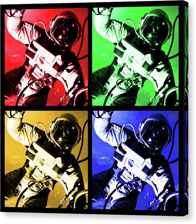 Pop Art Astronaut Floats In Zero Gravity Space, Black Border - Canvas Print from Wallasso - The Wall Art Superstore