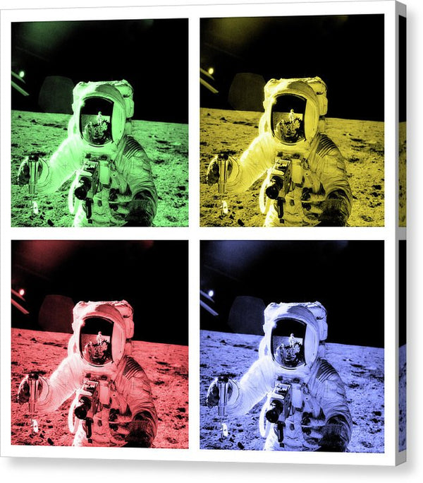 Pop Art Astronaut On Lunar Surface, White Border - Canvas Print from Wallasso - The Wall Art Superstore