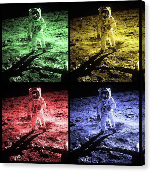 Pop Art Astronaut On Moon Surface, Black Border - Canvas Print from Wallasso - The Wall Art Superstore