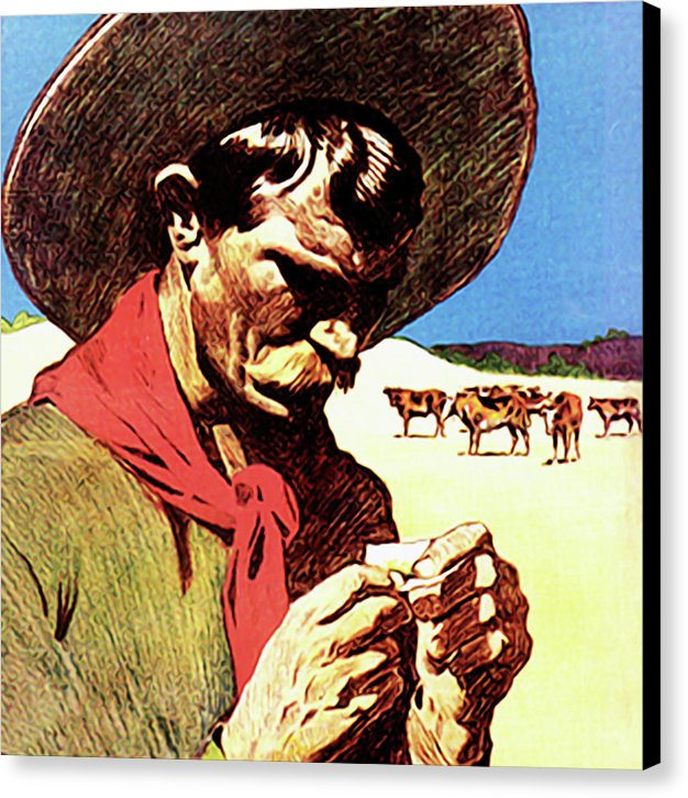 Pop Art Cowboy Rolling Cigarette - Canvas Print from Wallasso - The Wall Art Superstore