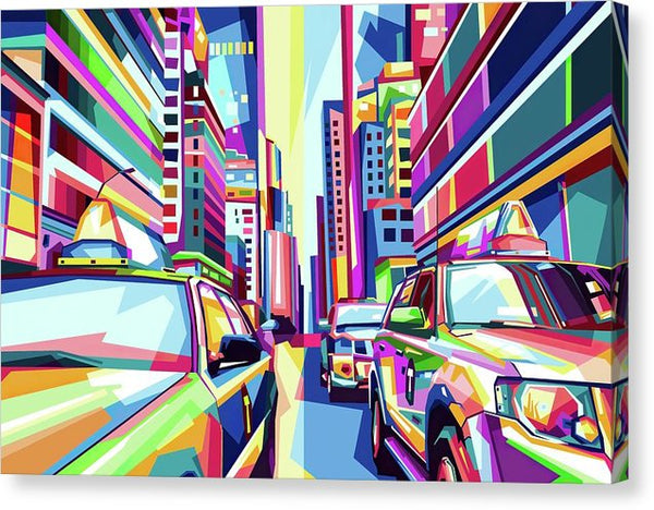 Pop Art New York City Taxi Cabs - Canvas Print from Wallasso - The Wall Art Superstore