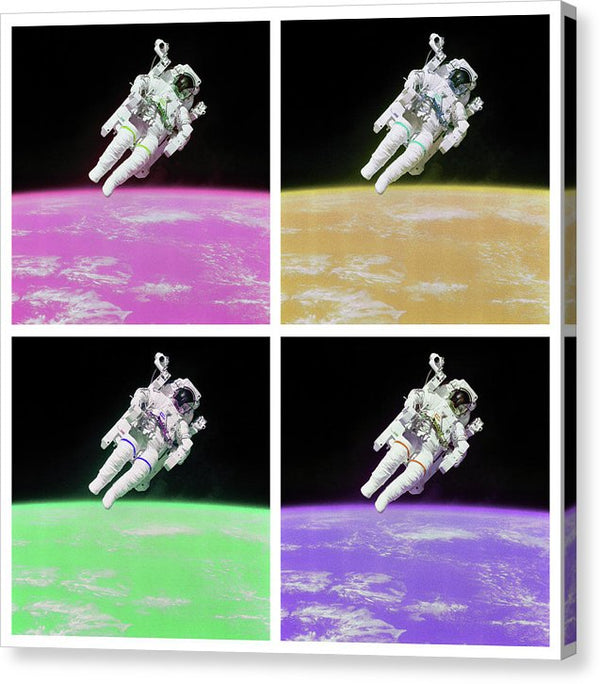 Pop Art Planet Earth Below Astronaut, White Border - Canvas Print from Wallasso - The Wall Art Superstore