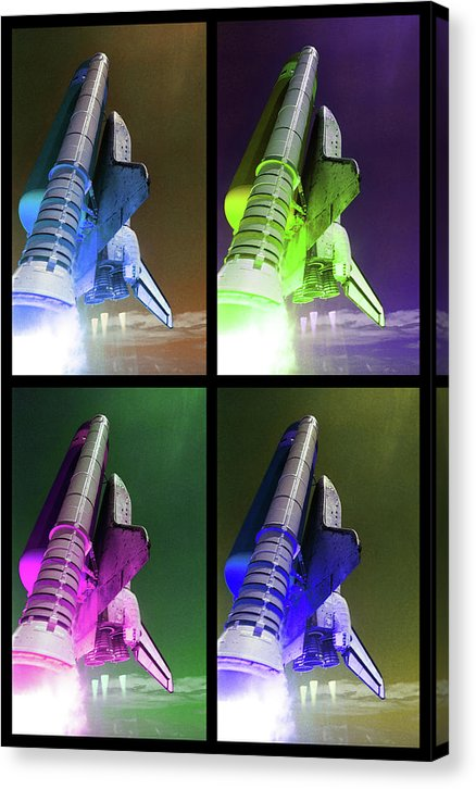 Pop Art Space Shuttle Launch, Black Border - Canvas Print from Wallasso - The Wall Art Superstore