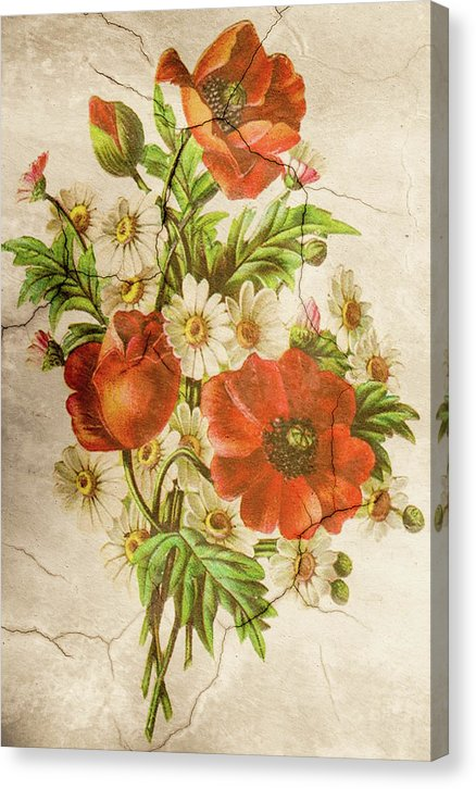 Poppy Flower Wall Texture Decoupage Design - Canvas Print from Wallasso - The Wall Art Superstore
