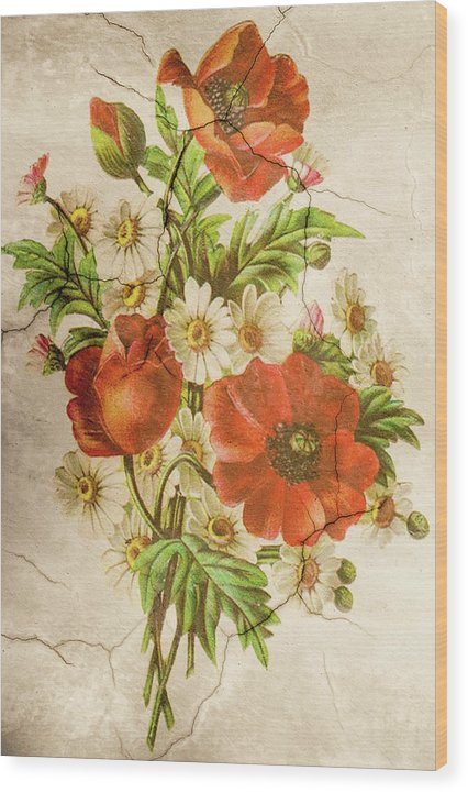Poppy Flower Wall Texture Decoupage Design - Wood Print from Wallasso - The Wall Art Superstore