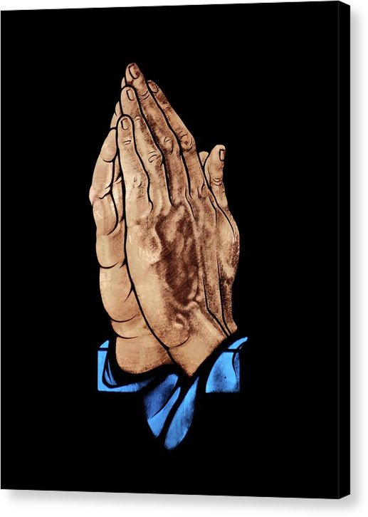 Praying Hands, Stained Glass Church Window - Canvas Print from Wallasso - The Wall Art Superstore