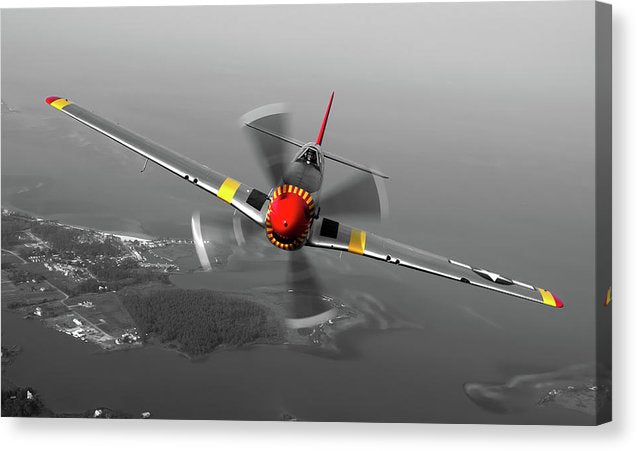 Propeller Airplane With Pops of Red and Yellow Color - Canvas Print from Wallasso - The Wall Art Superstore