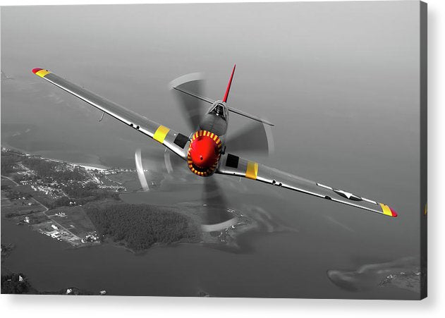 Propeller Airplane With Pops of Red and Yellow Color - Acrylic Print from Wallasso - The Wall Art Superstore