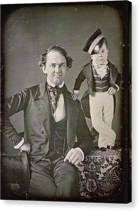 P.t. Barnum and General Tom Thumb Tintype - Canvas Print from Wallasso - The Wall Art Superstore
