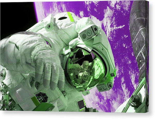 Purple and Green Pop Art Astronaut Floating Above Planet Earth - Canvas Print from Wallasso - The Wall Art Superstore