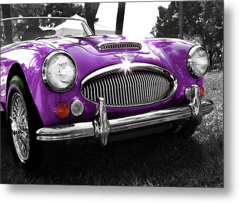 Purple Austin Healey Vintage Car - Metal Print from Wallasso - The Wall Art Superstore