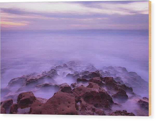 Purple Long Exposure Ocean Scene With Rocks - Wood Print from Wallasso - The Wall Art Superstore