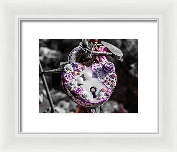 Purple Love Lock On Lovers Bridge - Framed Print from Wallasso - The Wall Art Superstore