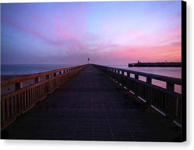 Purple Pier With Lighthouse - Canvas Print from Wallasso - The Wall Art Superstore