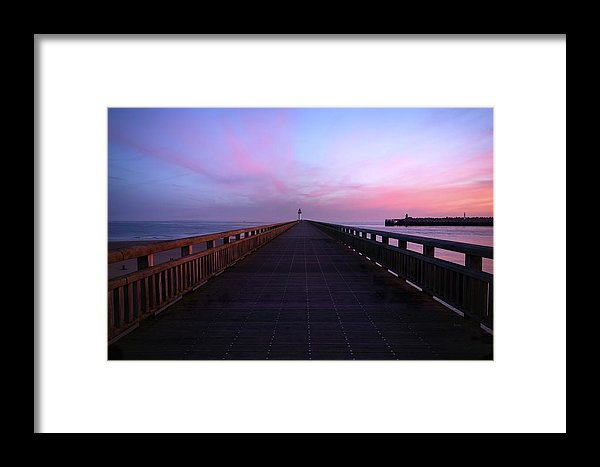 Purple Pier With Lighthouse - Framed Print from Wallasso - The Wall Art Superstore