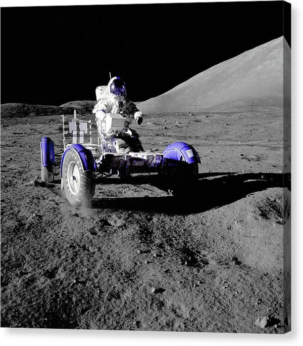 Purple Pop Art Astronaut In Lunar Roving Vehicle - Canvas Print from Wallasso - The Wall Art Superstore