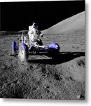 Purple Pop Art Astronaut In Lunar Roving Vehicle - Metal Print from Wallasso - The Wall Art Superstore