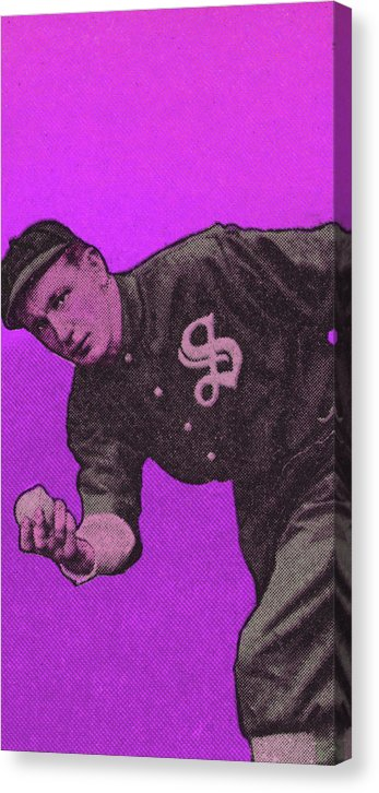 Purple Pop Art Vintage Baseball Player Illustration - Canvas Print from Wallasso - The Wall Art Superstore