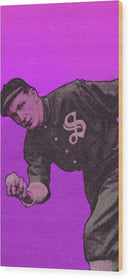 Purple Pop Art Vintage Baseball Player Illustration - Wood Print from Wallasso - The Wall Art Superstore