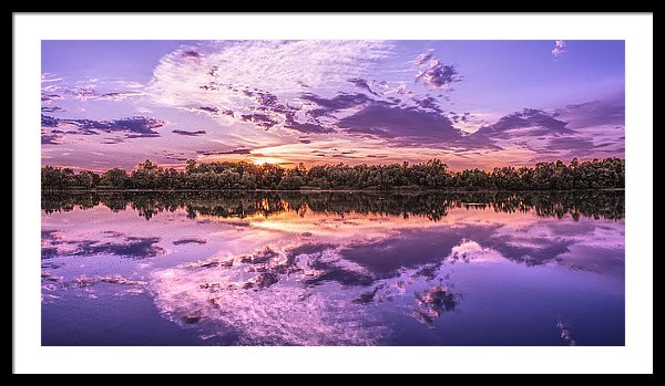 Purple Sky and Trees Reflected In Lake - Framed Print from Wallasso - The Wall Art Superstore