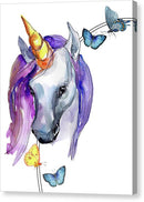 Purple Watercolor Unicorn With Butterflies - Canvas Print from Wallasso - The Wall Art Superstore