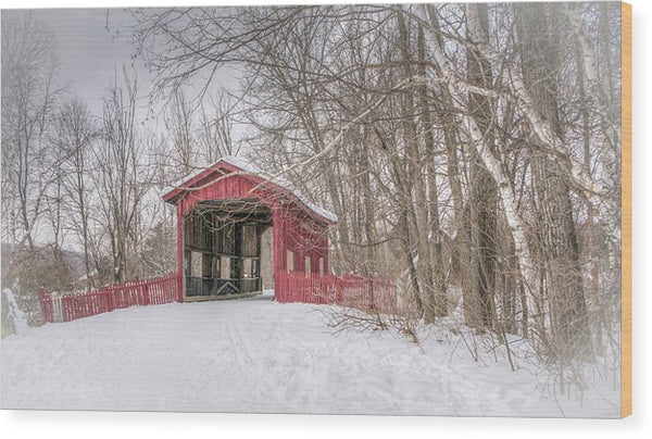 Quaint Covered Bridge In Snow - Wood Print from Wallasso - The Wall Art Superstore