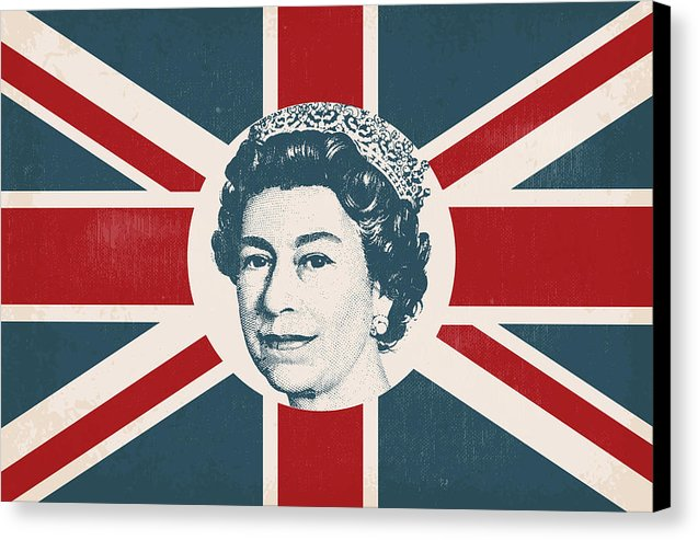 Queen Elizabeth Union Jack British Flag - Canvas Print from Wallasso - The Wall Art Superstore