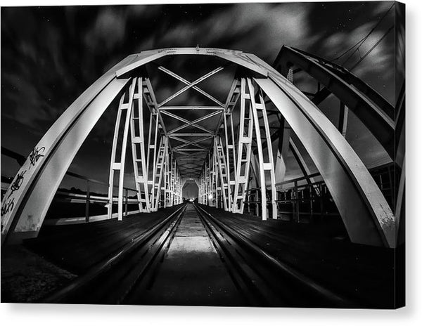 Railroad Bridge At Night - Canvas Print from Wallasso - The Wall Art Superstore