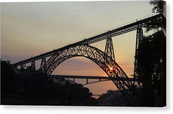 Railroad Bridge At Sunset - Canvas Print from Wallasso - The Wall Art Superstore