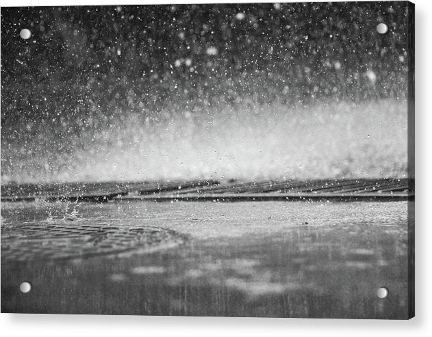 Rain Drops Falling On City Street - Acrylic Print from Wallasso - The Wall Art Superstore