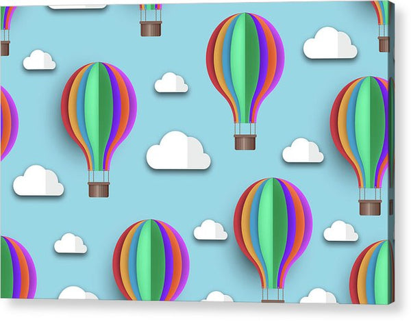 Rainbow Colored Hot Air Balloons For Kids - Acrylic Print from Wallasso - The Wall Art Superstore