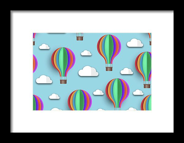 Rainbow Colored Hot Air Balloons For Kids - Framed Print from Wallasso - The Wall Art Superstore
