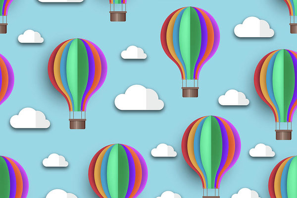 Rainbow Colored Hot Air Balloons For Kids - Art Print from Wallasso - The Wall Art Superstore