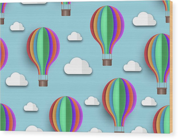 Rainbow Colored Hot Air Balloons For Kids - Wood Print from Wallasso - The Wall Art Superstore