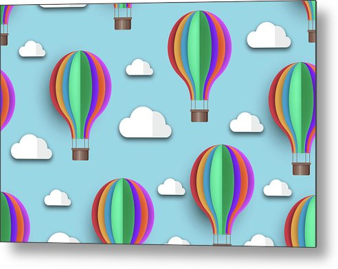 Rainbow Colored Hot Air Balloons For Kids - Metal Print from Wallasso - The Wall Art Superstore