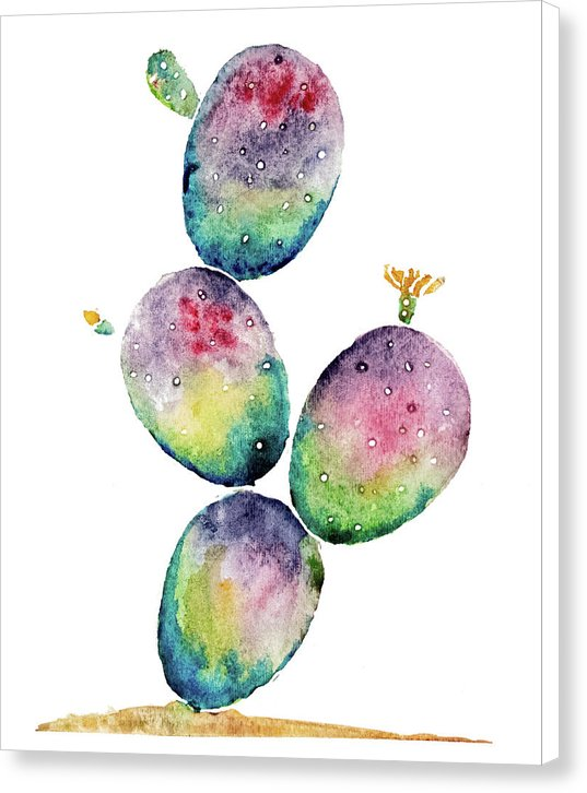 Rainbow Paddle Cactus by Jessica Contreras - Canvas Print from Wallasso - The Wall Art Superstore